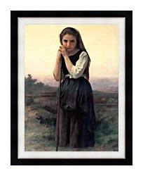 William Bouguereau Little Shepherdess canvas with modern black frame