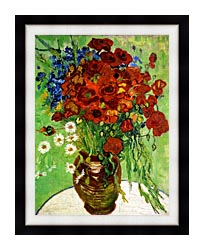 Vincent Van Gogh Still Life Red Poppies And Daisies canvas with modern black frame