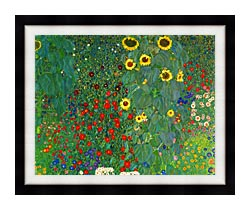 Gustav Klimt Farm Garden With Sunflowers Detail canvas with modern black frame