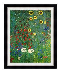 Gustav Klimt Farm Garden With Sunflowers Portrait Detail canvas with modern black frame