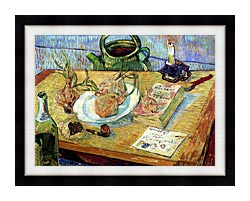 Vincent Van Gogh Still Life Plate With Onions Drawing Board Pipe And Other Objects canvas with modern black frame