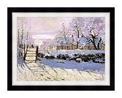 Claude Monet The Magpie Snow Effect canvas with modern black frame