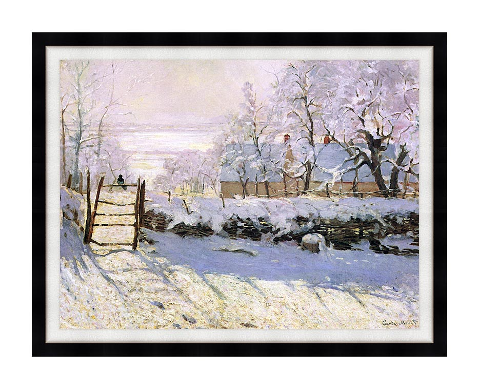 Claude Monet The Magpie, Snow Effect with Modern Black Frame