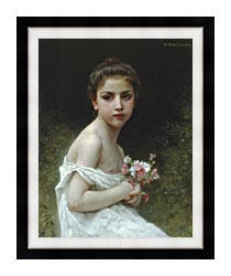 William Bouguereau Little Girl With A Bouquet canvas with modern black frame