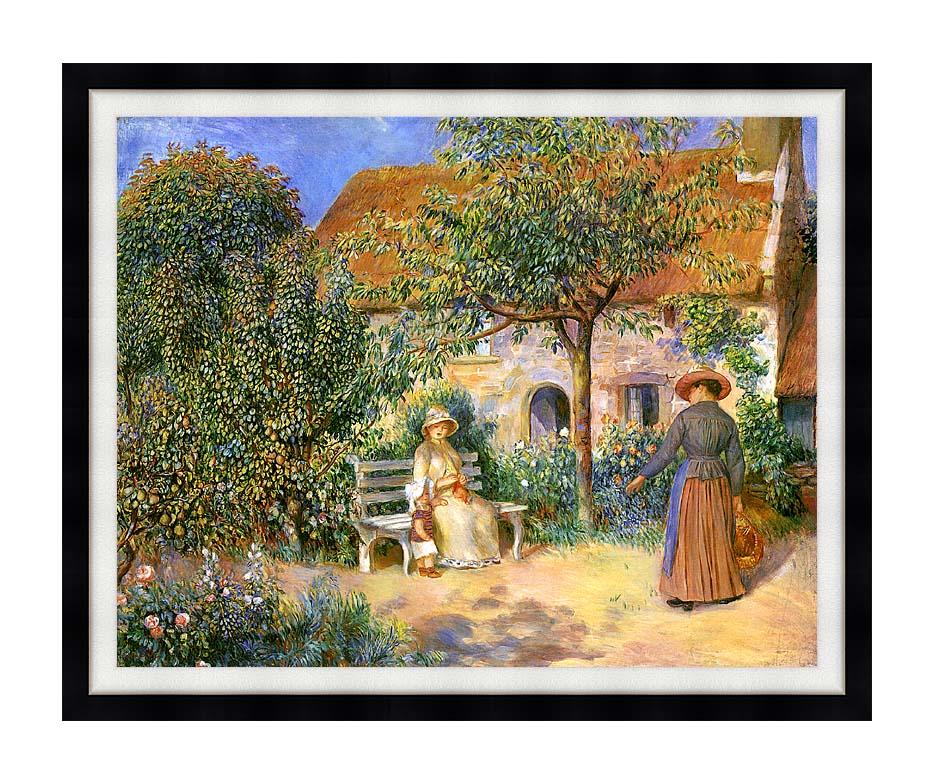 Pierre Auguste Renoir Garden Scene in Brittany with Modern Black Frame