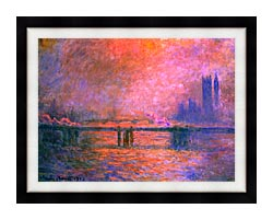 Claude Monet Charing Cross Bridge La Tamise 1903 canvas with modern black frame