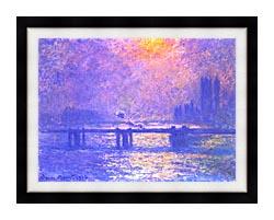 Claude Monet Charing Cross Bridge La Tamise canvas with modern black frame