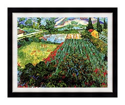 Vincent Van Gogh Field With Poppies canvas with modern black frame