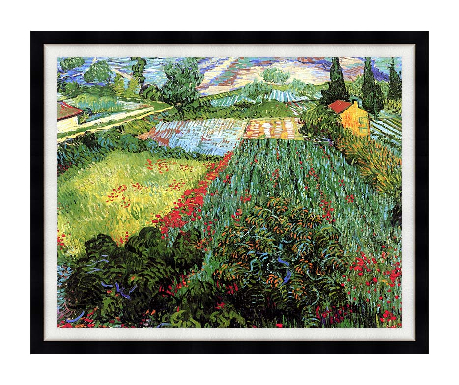 Vincent van Gogh Field with Poppies with Modern Black Frame
