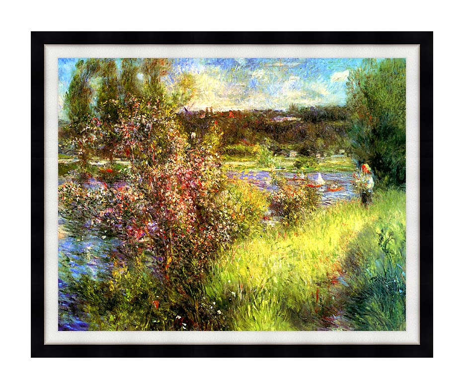 Pierre Auguste Renoir The Seine at Chatou with Modern Black Frame