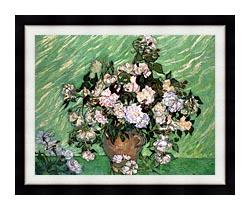 Vincent Van Gogh Vase With Pink Roses I canvas with modern black frame