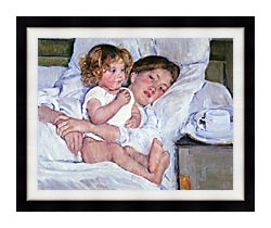 Mary Cassatt Breakfast In Bed canvas with modern black frame