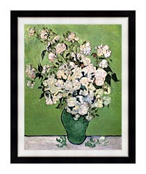 Vincent Van Gogh Vase With Pink Roses II canvas with modern black frame