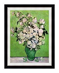 Vincent Van Gogh Vase With Pink Roses III canvas with modern black frame