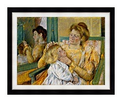 Mary Cassatt Mother Combing Her Childs Hair canvas with modern black frame