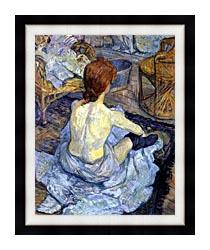 Henri De Toulouse Lautrec Rousse La Toilette canvas with modern black frame