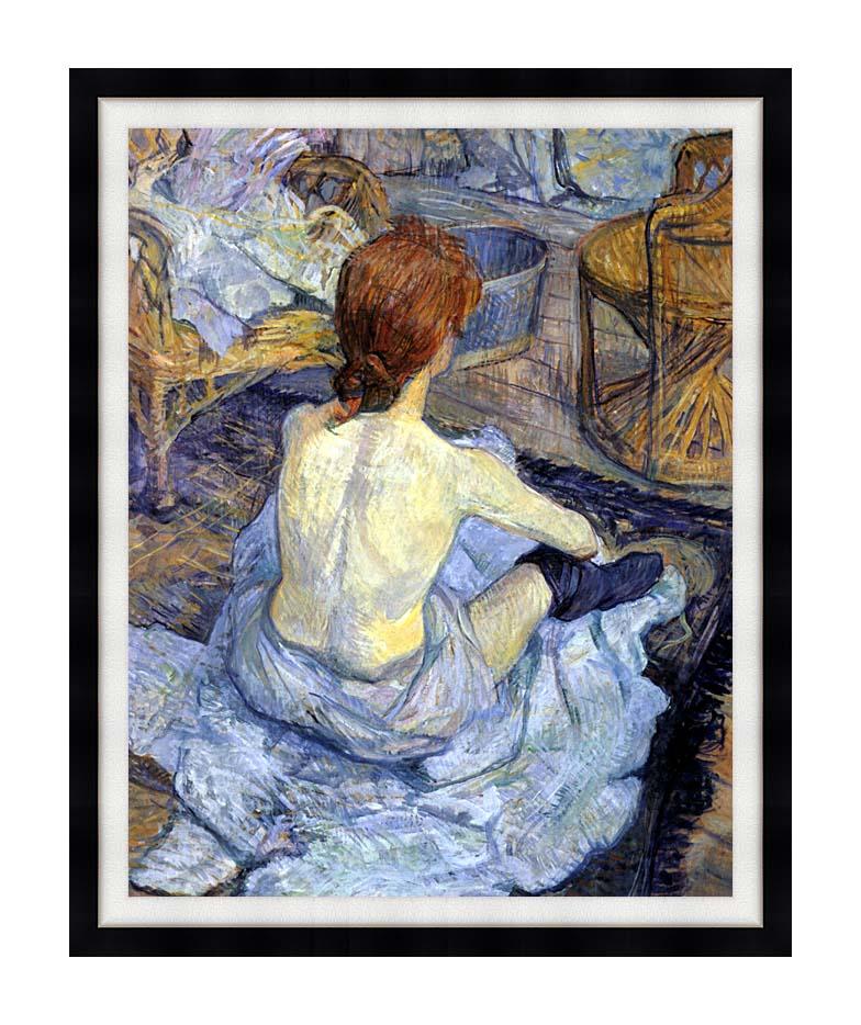 Henri de Toulouse Lautrec Rousse, La Toilette with Modern Black Frame