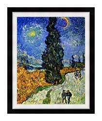 Vincent Van Gogh Road With Men Walking Carriage Cypress Star And Crescent Moon canvas with modern black frame