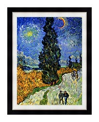 Vincent Van Gogh Road With Men Walking Carriage Cypress Star And Crescent Moon 1890 canvas with modern black frame
