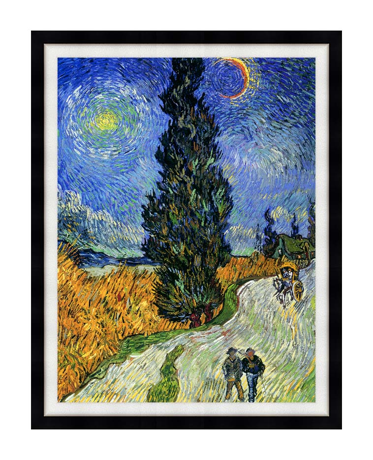 Vincent van Gogh Road with Men Walking, Carriage, Cypress, Star and Crescent Moon 1890 with Modern Black Frame