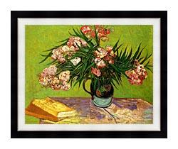 Vincent Van Gogh Majolica Jar With Branches Of Oleander canvas with modern black frame