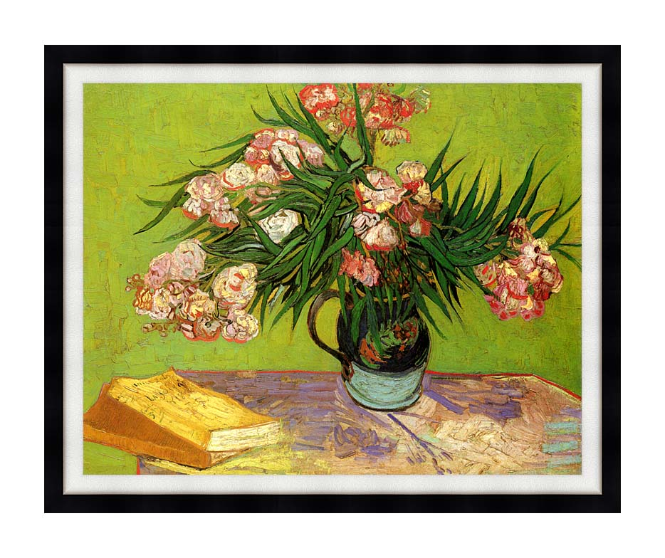 Vincent van Gogh Majolica Jar with Branches of Oleander with Modern Black Frame
