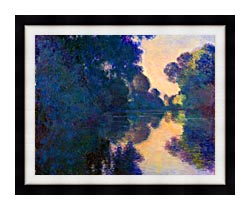 Claude Monet Morning On The Seine Near Giverny canvas with modern black frame