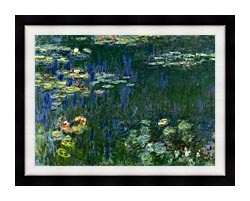 Claude Monet Green Reflections I Left Detail canvas with modern black frame