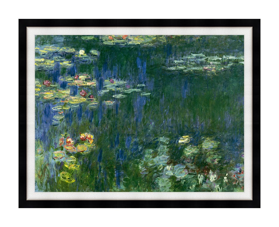Claude Monet Green Reflections I (left detail) with Modern Black Frame