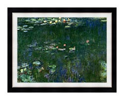 Claude Monet Green Reflections II Center Detail canvas with modern black frame