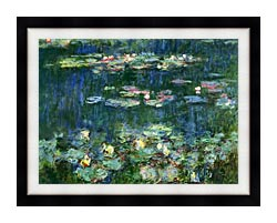 Claude Monet Green Reflections III Right Detail canvas with modern black frame