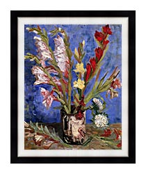 Vincent Van Gogh Vase With Gladioli canvas with modern black frame