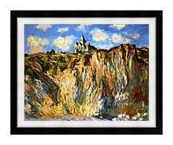 Claude Monet The Church At Varengeville Morning Effect Landscape Detail canvas with modern black frame
