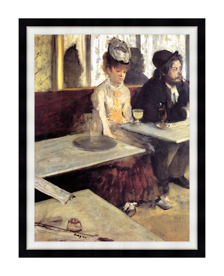 Edgar Degas The Absinthe Drinker in a Cafe with Modern Black Frame