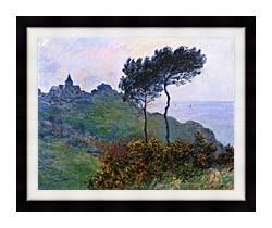Claude Monet The Church At Varengeville Grey Weather canvas with modern black frame