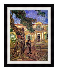 Vincent Van Gogh Pine Tree And Figure In Front Of The Saint Paul Hospital canvas with modern black frame