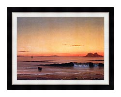 Martin Johnson Heade Twilight Singing Beach Detail canvas with modern black frame