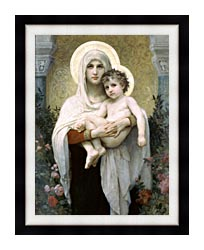 William Bouguereau Madonna Of The Roses canvas with modern black frame