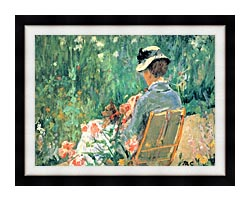 Mary Cassatt Lydia Seated In The Garden With A Dog canvas with modern black frame