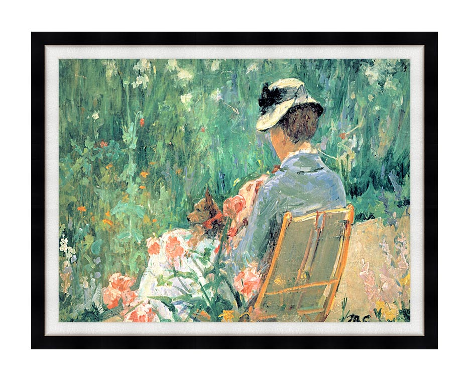 Mary Cassatt Lydia Seated in the Garden with a Dog with Modern Black Frame