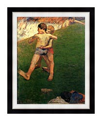 Paul Gauguin Boys Wrestling canvas with modern black frame
