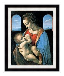 Leonardo Da Vinci Madonna Litta canvas with modern black frame
