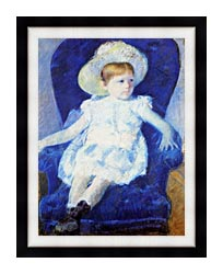 Mary Cassatt Elsie In A Blue Chair canvas with modern black frame