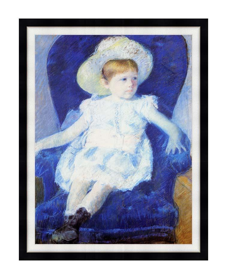 Mary Cassatt Elsie in a Blue Chair with Modern Black Frame