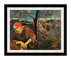 Paul Gauguin Christ In The Garden Of Olives canvas with modern black frame