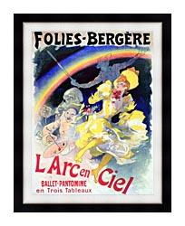 Jules Cheret Folies Bergere Larc En Ciel canvas with modern black frame