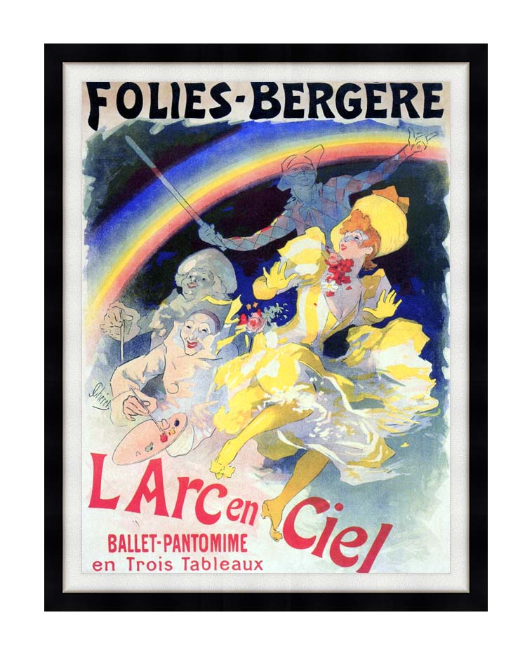 Jules Cheret Folies-Bergere L'Arc-en-Ciel with Modern Black Frame
