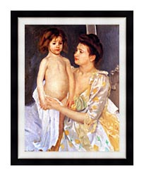 Mary Cassatt Jules Being Dried By His Mother canvas with modern black frame