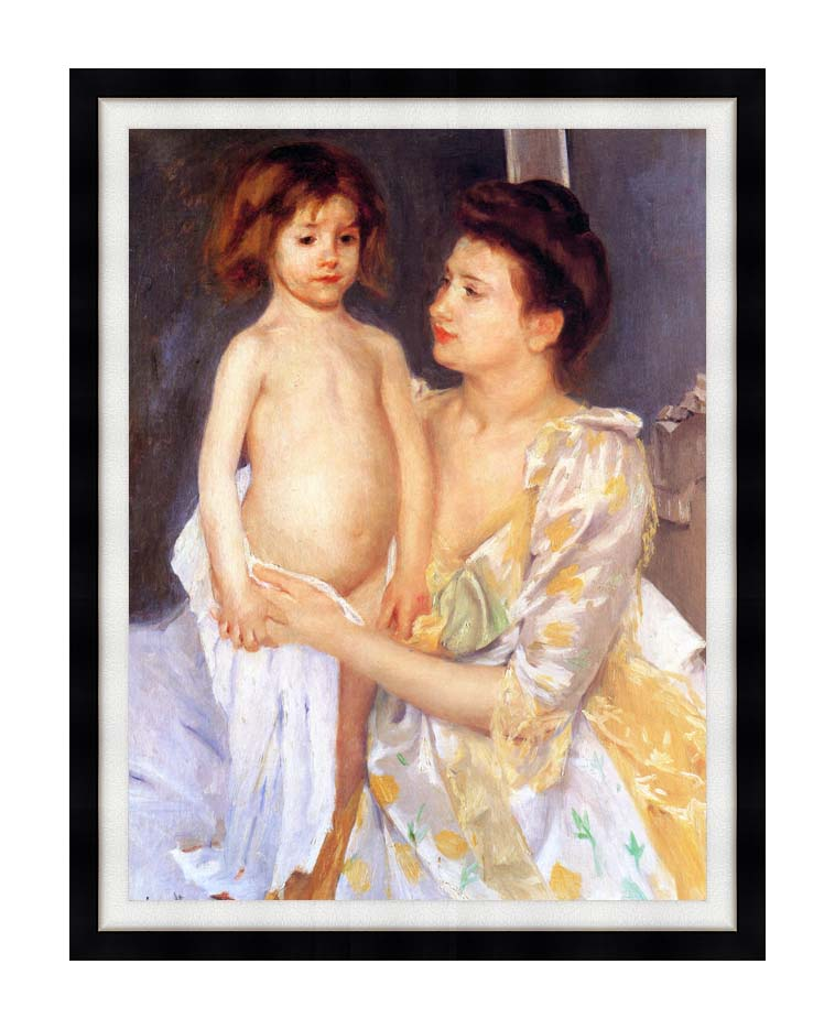 Mary Cassatt Jules Being Dried by his Mother with Modern Black Frame