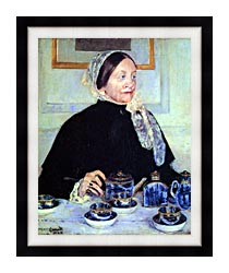 Mary Cassatt Lady At The Tea Table canvas with modern black frame